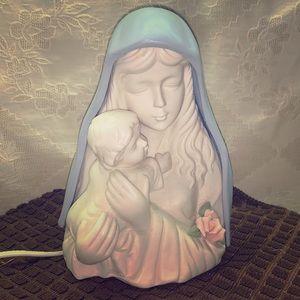 Vtg Porcelain Madonna & Child Nightlight